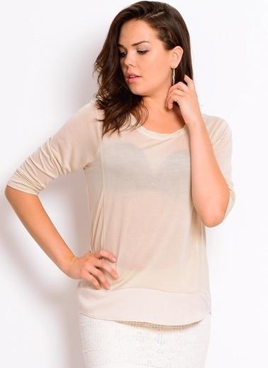 Vero Moda Vero Moda 519972858 Normal Kalıp Kısa Kol Krem Kadın Bluz Krem